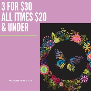 3 for $30 everything $20 & under
